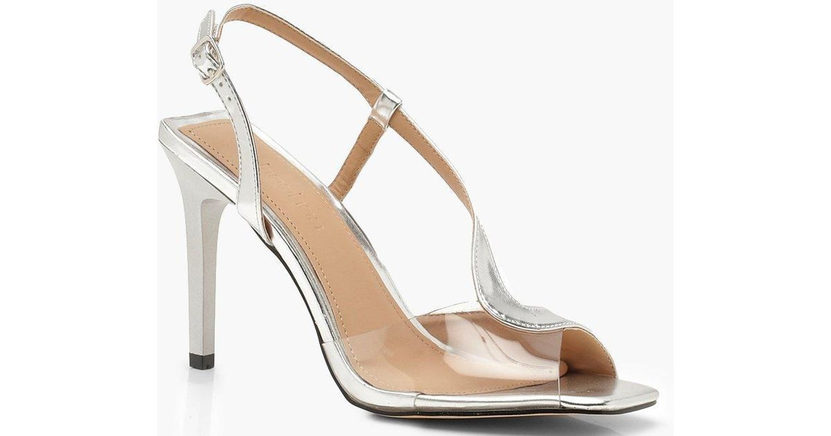 1a315d695f3 Lyst - Boohoo Clear Panel Asymmetric Square Toe Heels in Metallic