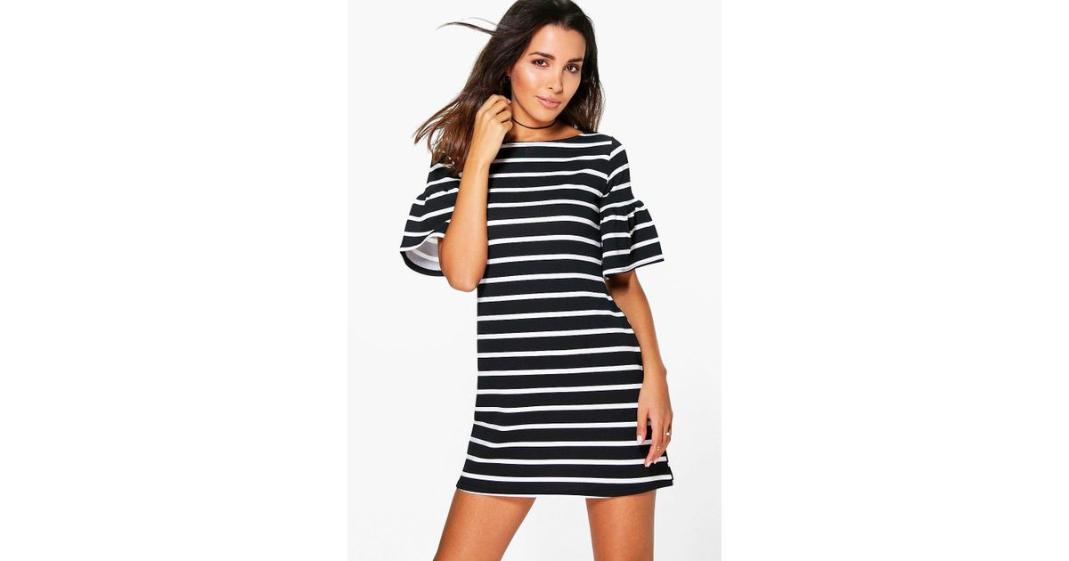 4bac1fba3605 Lyst - Boohoo Rosie Stripe Ruffle Sleeve Shift Dress in Black