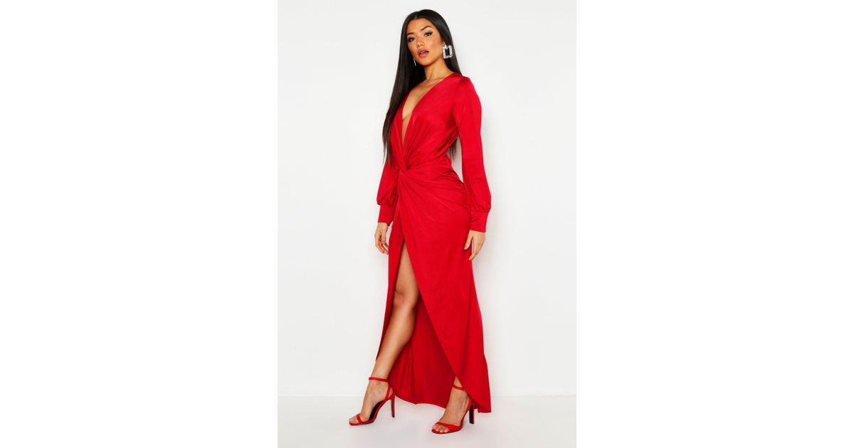 21e3ce3494b Boohoo Daria Twist Front Plunge Slinky Maxi Dress in Red - Lyst