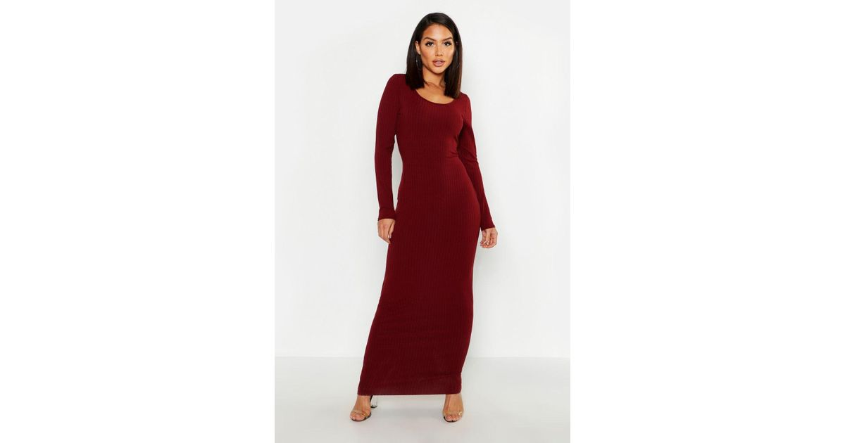 8278e0f2a2 Boohoo Long Sleeve Scoop Neck Ribbed Maxi Dress in Red - Lyst