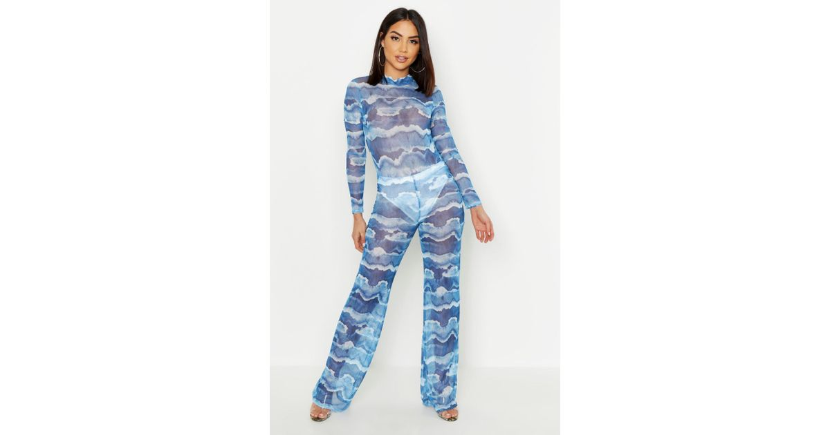 a26e63121a04 Lyst - Boohoo Tie Dye Mesh Pant Lined Loose Leg Trouser in Blue