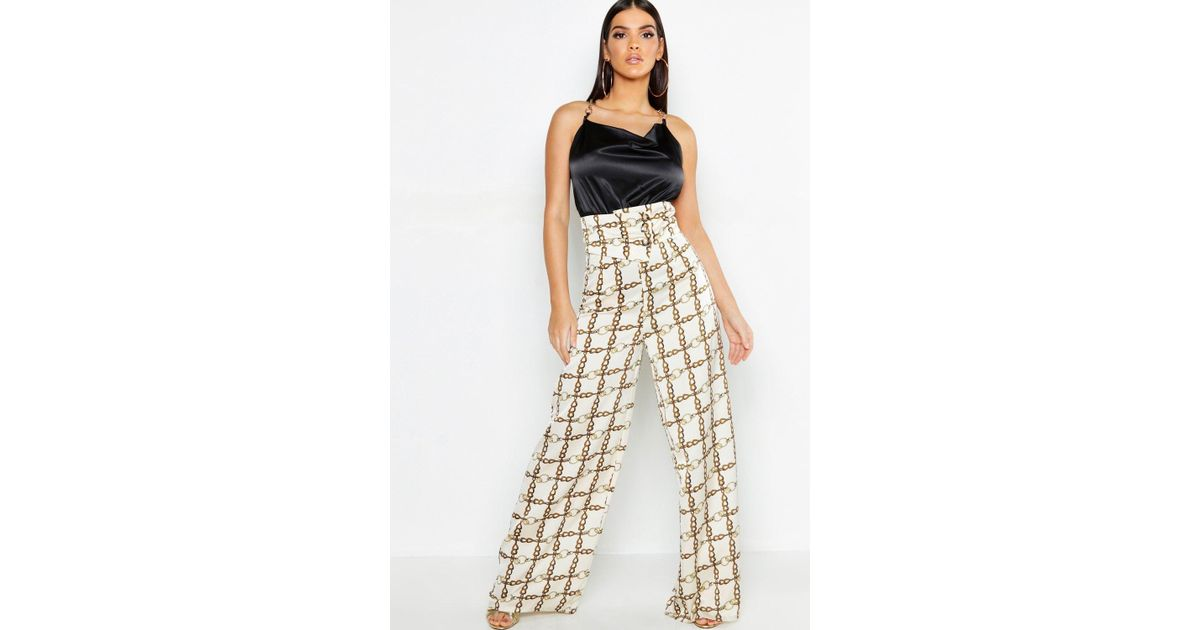 6365a64fa8e2 Boohoo Chain Print Satin Cut Out Wide Leg Pants in White - Lyst