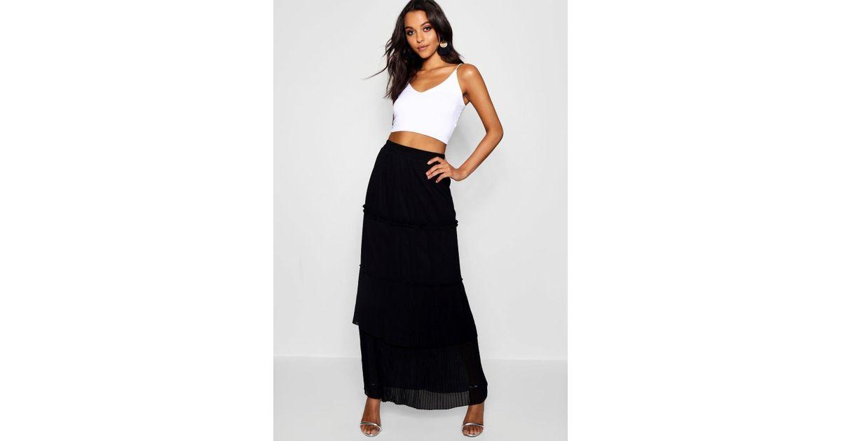 a6119ec5f Boohoo Pleated & Tiered Chiffon Maxi Skirt in Black - Lyst