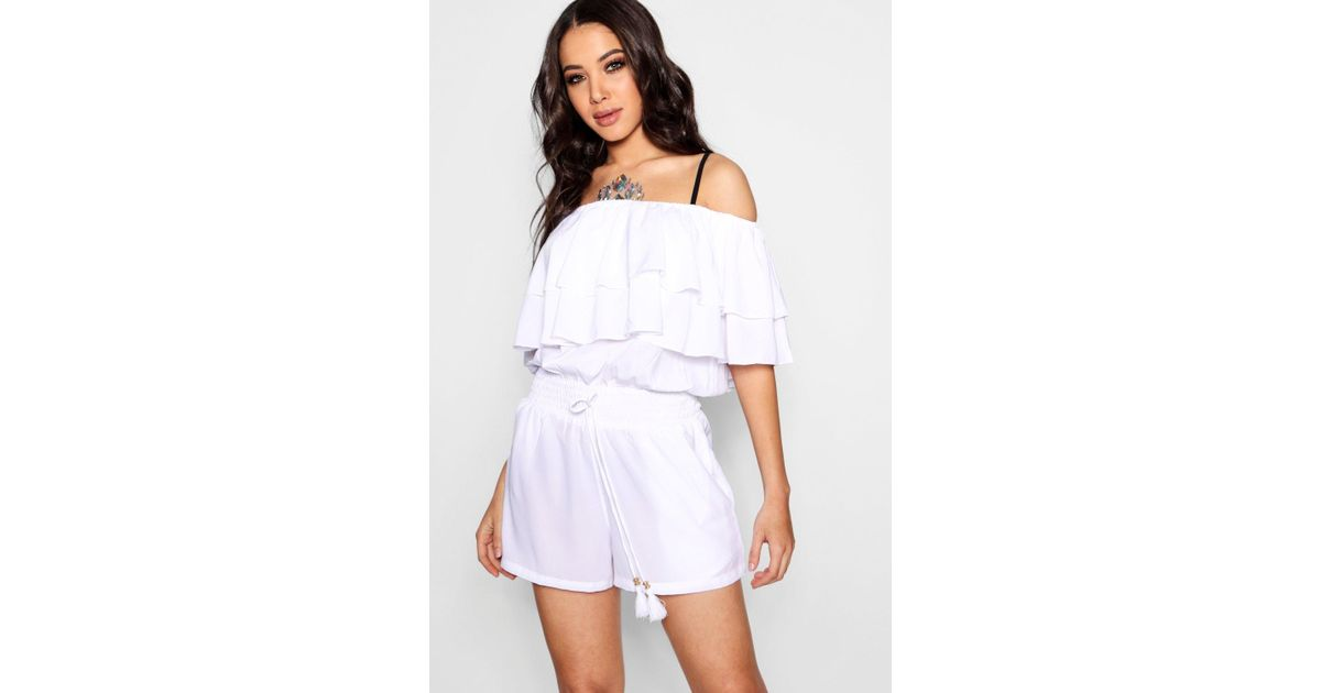 7838d87789aa Boohoo Bardot Ruffle Beach Playsuit in White - Lyst