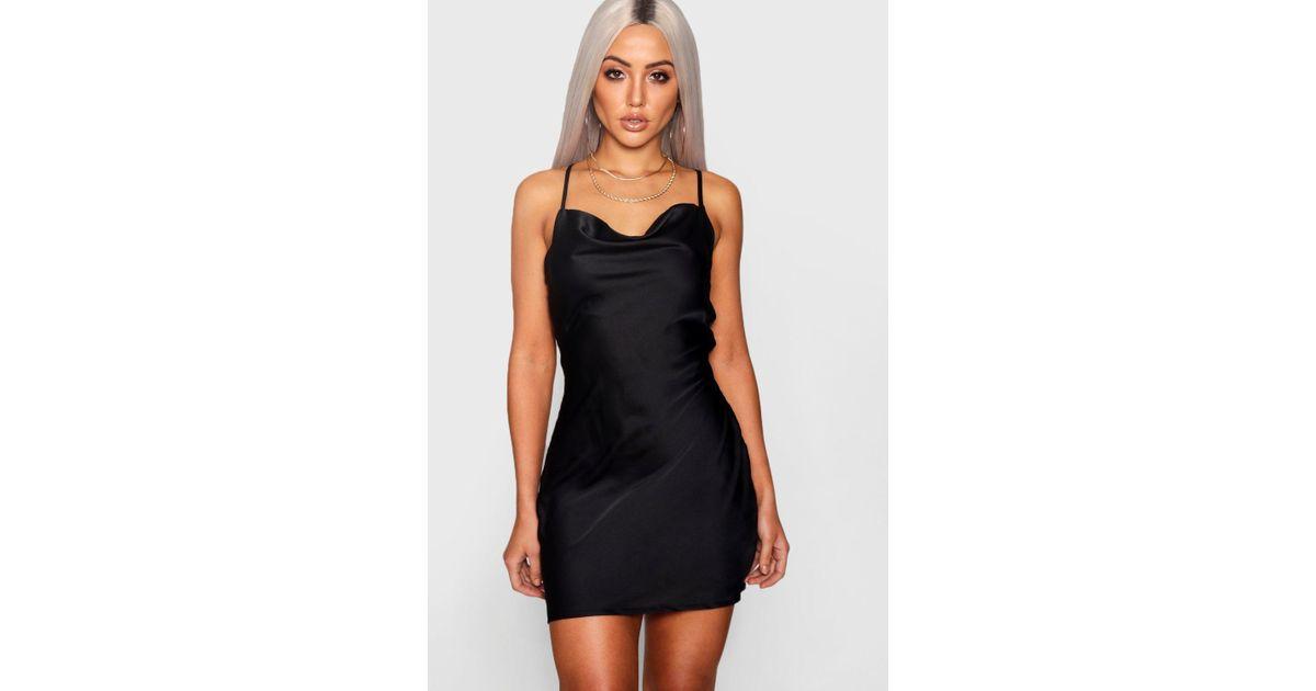 48651e7aa4ec Boohoo Strappy Cowl Neck Luxe Satin Mini Dress in Black - Lyst