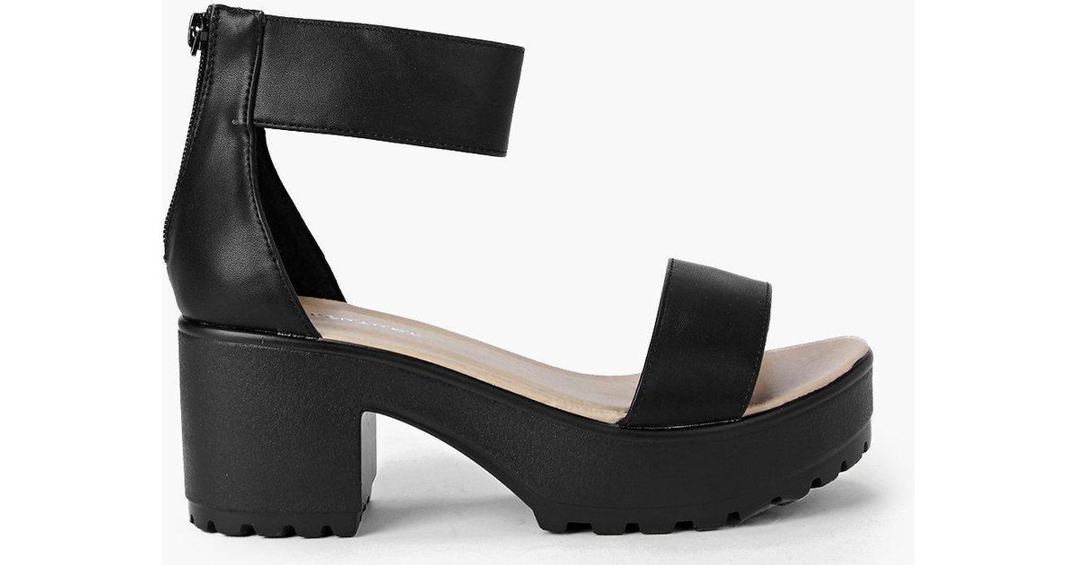 a0ea287dfb5 Boohoo Black Katie Ankle Strap Cleated Sandal