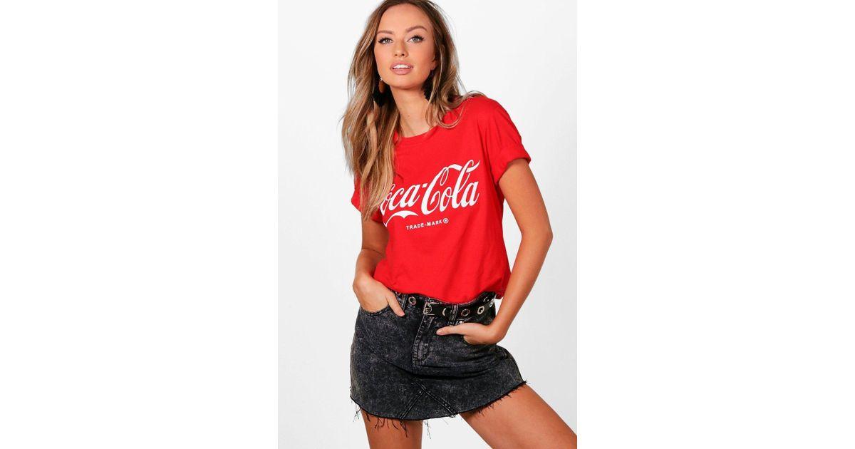 938e49c2e0f Boohoo Claudia Coca Cola Oversized Tee in Red - Lyst