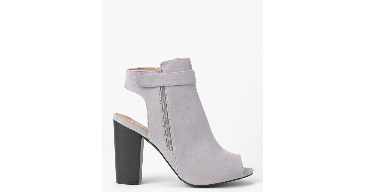 Boohoo Open Back Peeptoe Shoe Boots in Gray - Lyst ce446d01d057