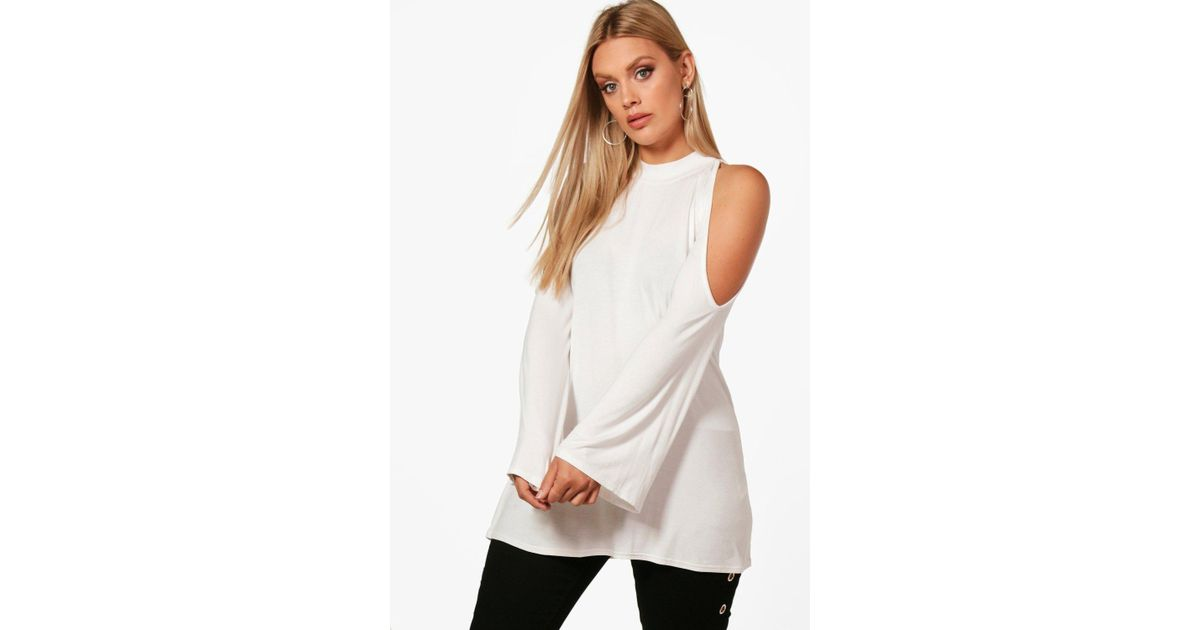 e625904cacb499 Lyst - Boohoo Plus Open Shoulder High Neck Top in White