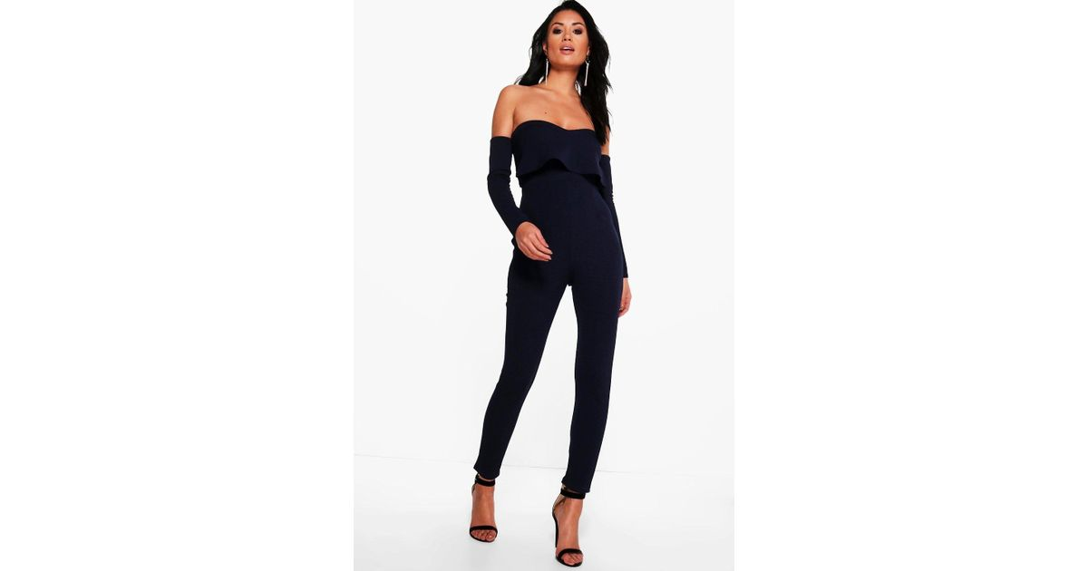 half price wide selection of colours and designs footwear Boohoo Blue Liz Bardot Long Sleeve Skinny Leg Jumpsuit