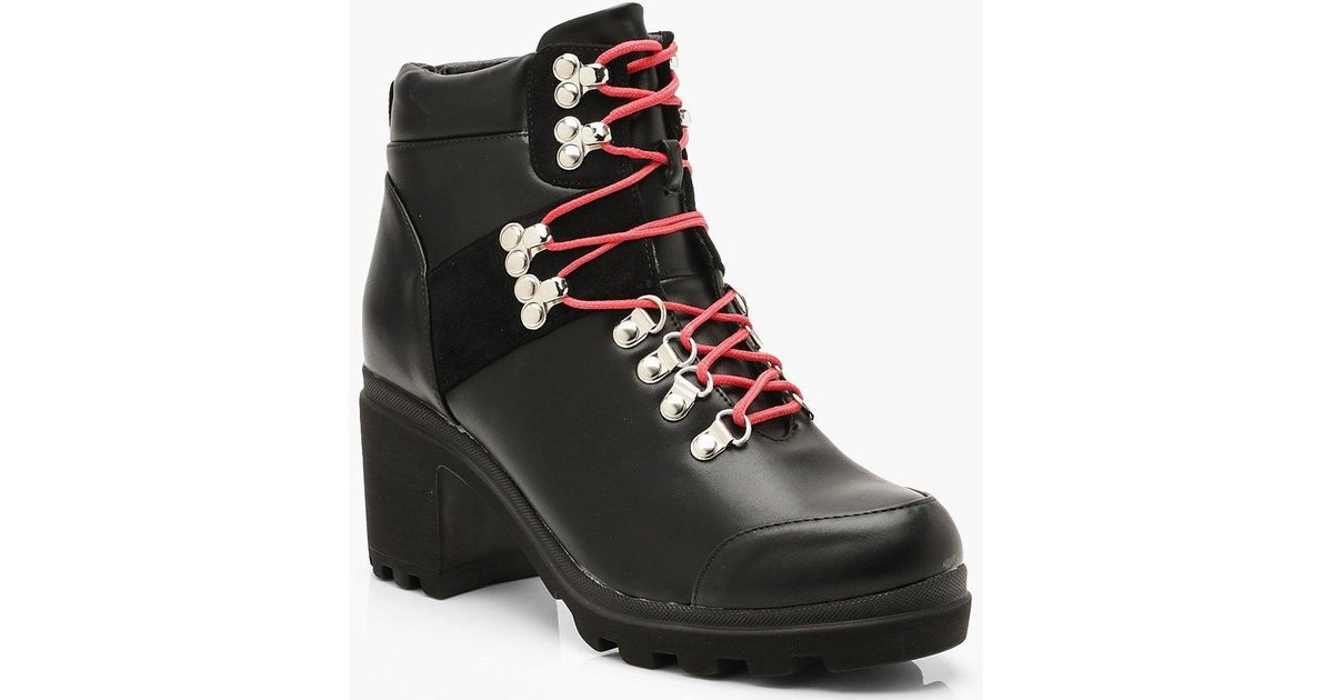 72c61e663e80 Lyst - Boohoo Chunky Block Heel Belt Strap Hiker Boots in Black