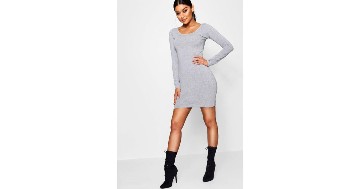2f6ca62cc681b Lyst - Boohoo Long Sleeve Scoop Neck Bodycon Dress in Gray