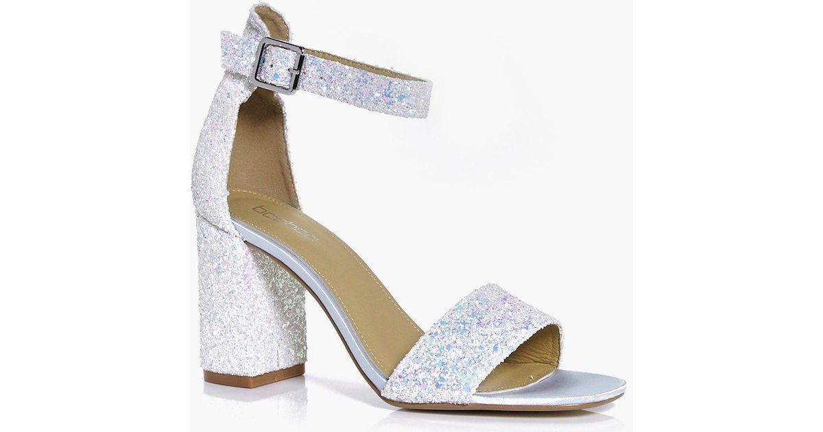 81ff5b5f790 Boohoo Lillie Bridal Glitter Block Heel Two Part in Blue - Lyst