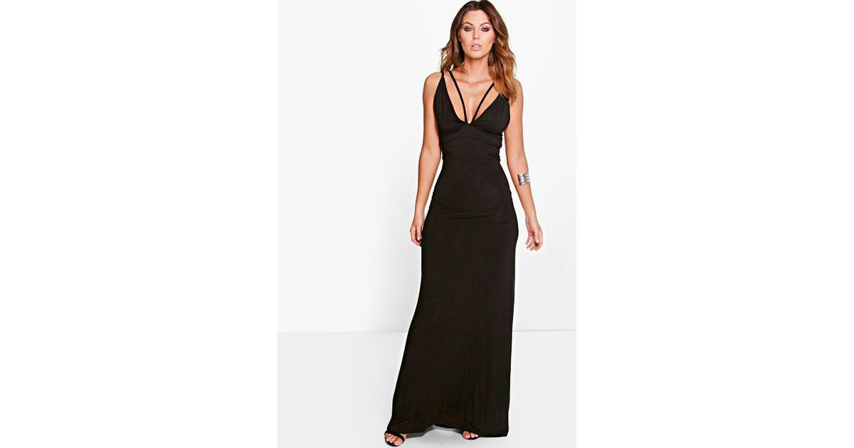 4bd15192392b Boohoo Rosie Double Strap Plunge Maxi Dress in Black - Lyst