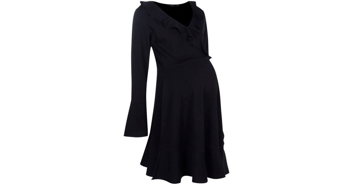 cd45e57b3f303 Lyst - Boohoo Maternity Esther Frill Wrap Dress in Black
