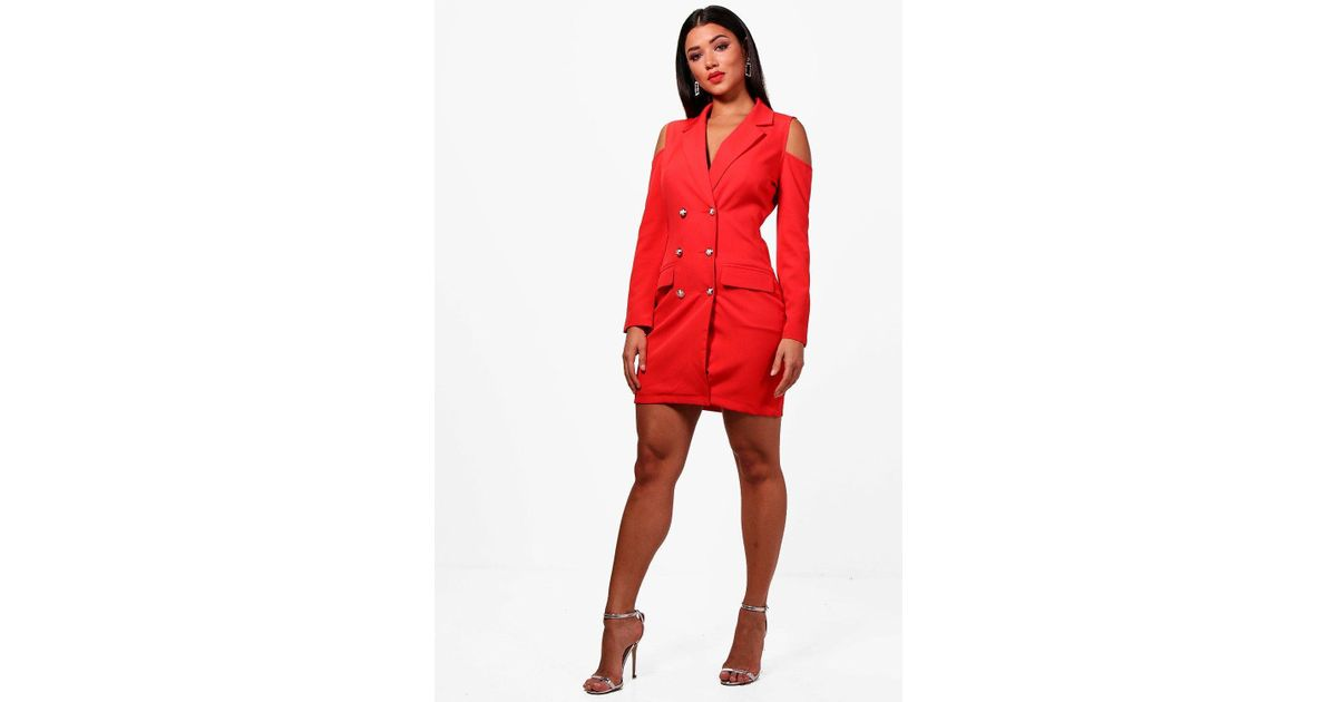 7d1bdb89b95e Boohoo Cold Shoulder Double Breasted Blazer Dress in Red - Lyst
