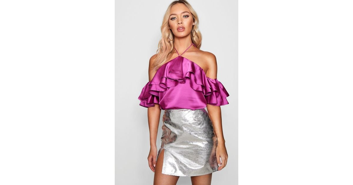 1e1aecbfb46051 Lyst - Boohoo Satin Halter Ruffle Cold Shoulder Top in Purple