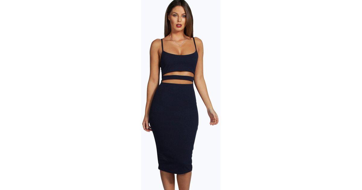 f07f632e654d3 Lyst - Boohoo Tanya Strappy Cut Out Midi Dress in Black