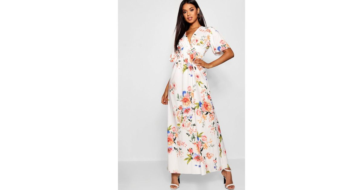 Lyst Boohoo Cap Sleeve Shirred Waist Floral Maxi Dress In White