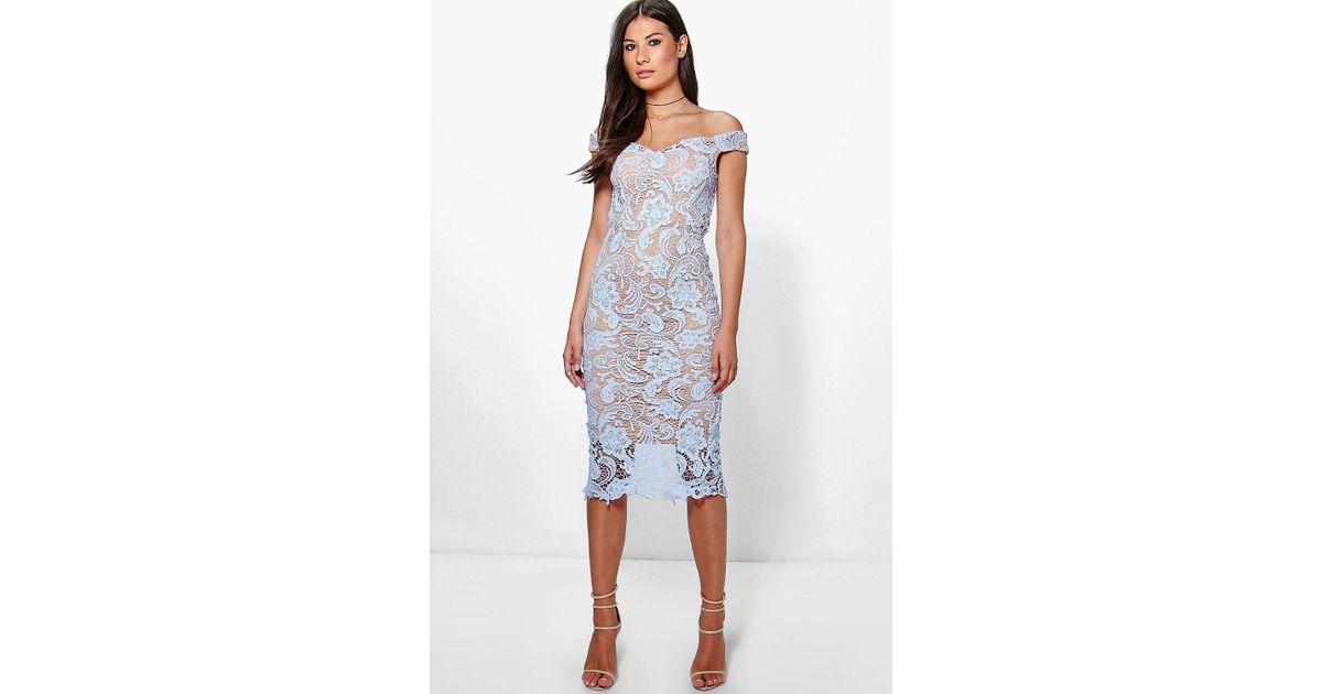 dd89f40df43f Boohoo Boutique Marcie Lace Off Shoulder Midi Dress in Blue - Lyst