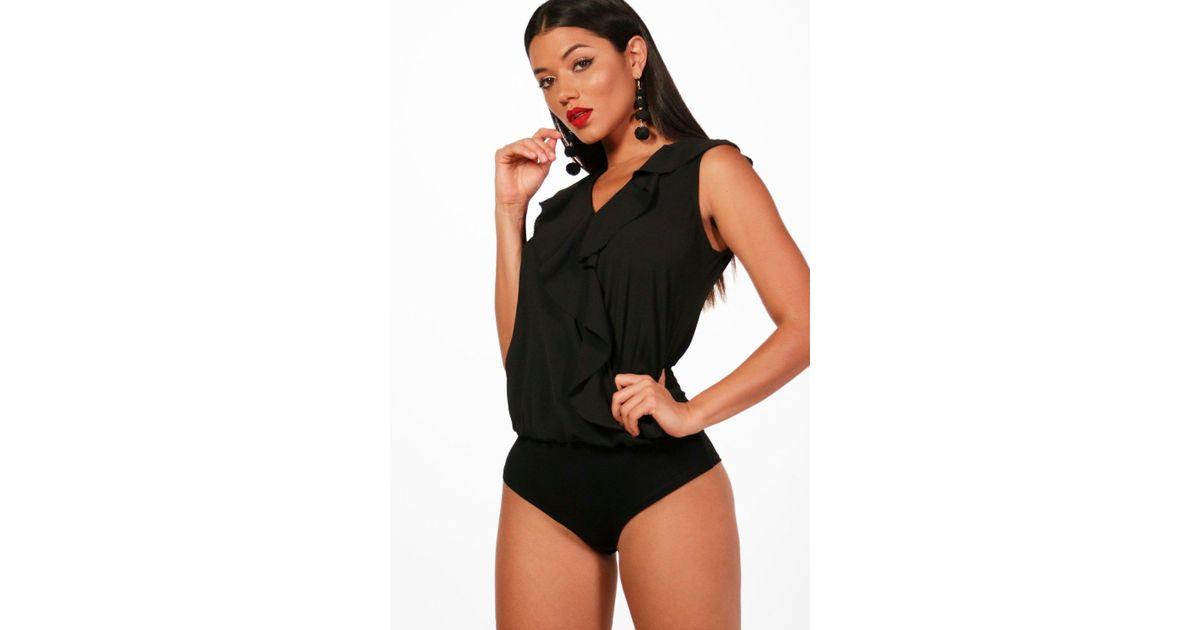 e6100f6856 Boohoo Shanice Frill Sleeveless Bodysuit in Black - Lyst