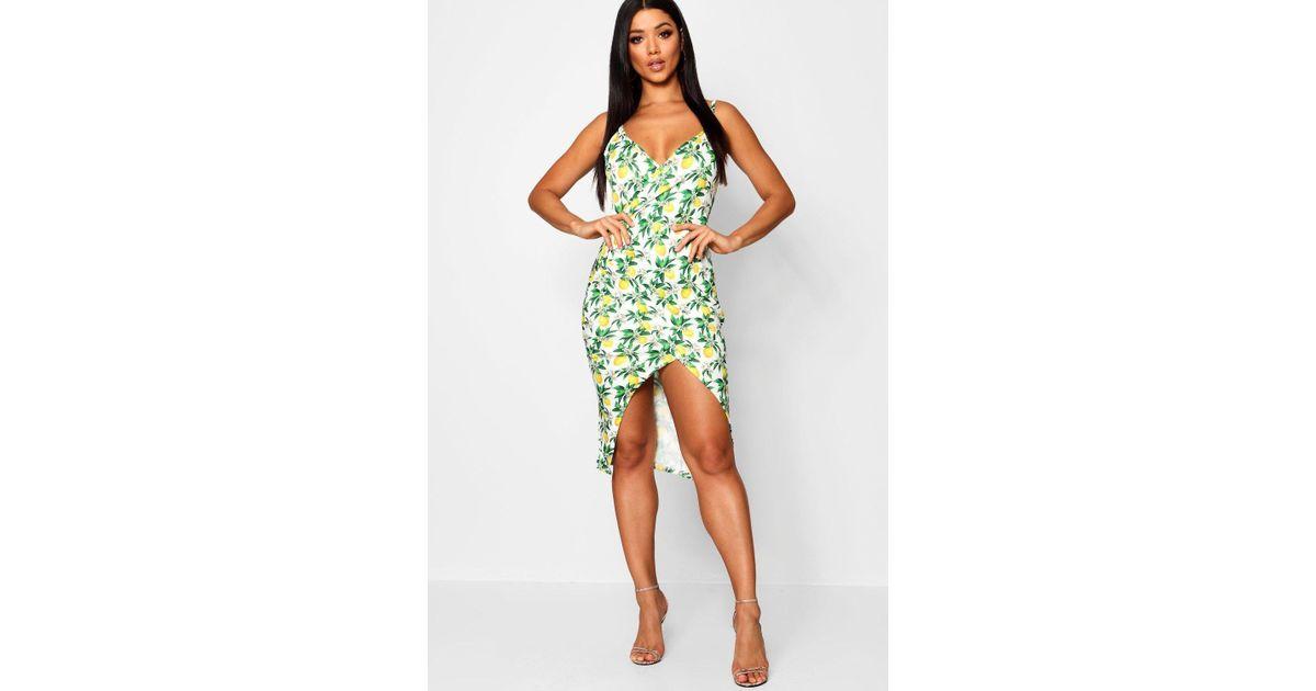 b7622b98a1d Blue Floral Print Strappy Skater Dress   Lyst boohoo annie lemon print  strappy wrap midi dress