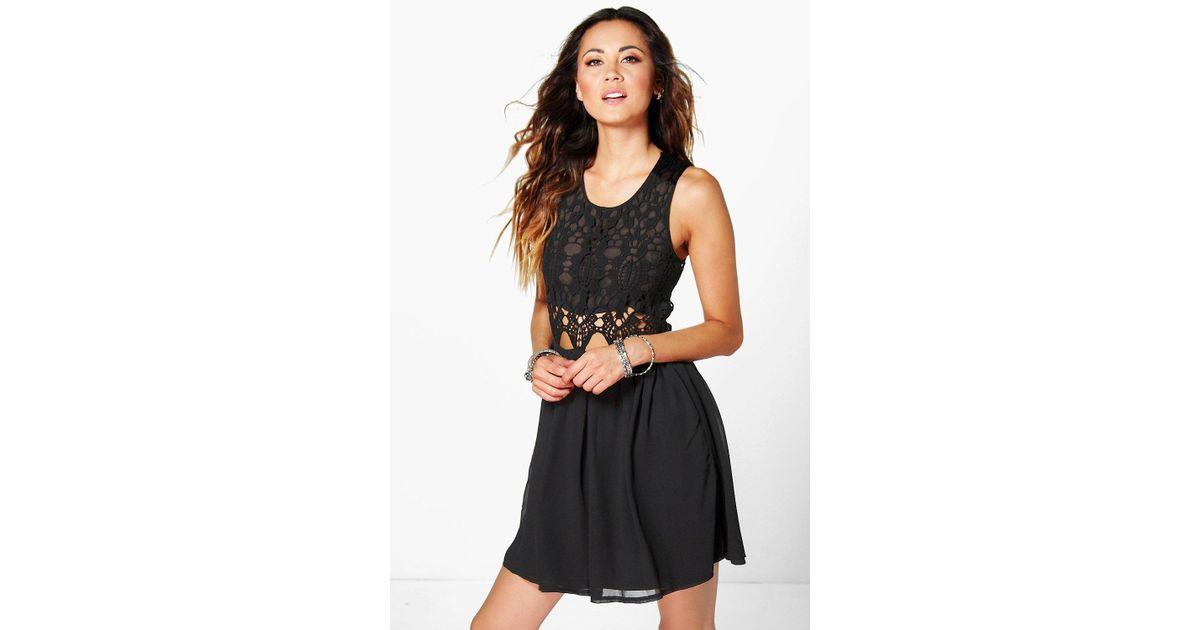Lyst boohoo boutique lea crochet chiffon mini dress in black for Lea boutique