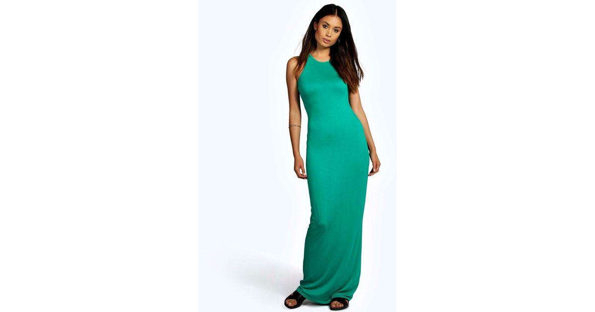 2fd785e30bb9 Lyst - Boohoo Phoebe Racer Front Sleeveless Maxi Dress in Green