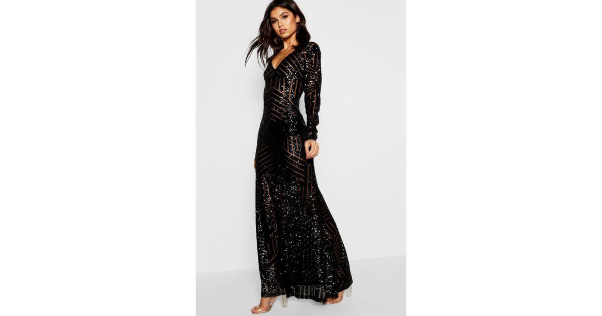 99455ff2a7b7a Boohoo Boutique Mia Sequin & Mesh Plunge Neck Maxi Dress in Black - Lyst