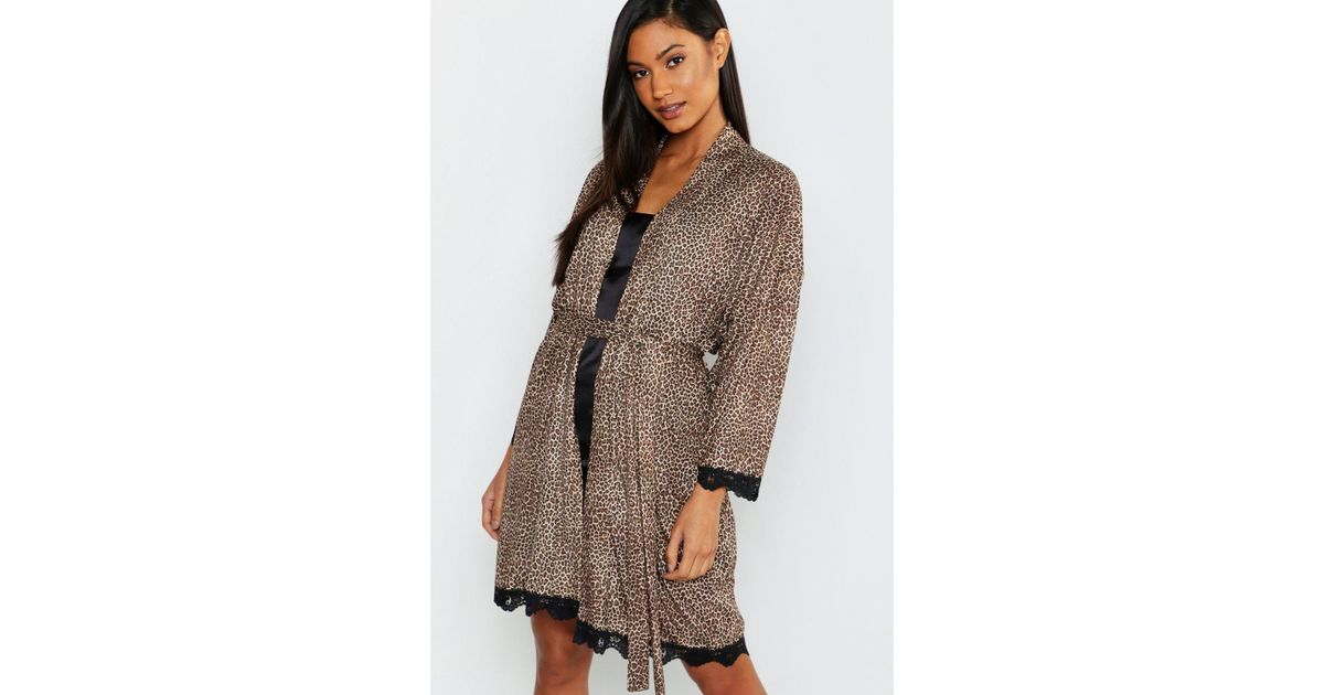 aab47677a710 Lyst - Boohoo Leopard Print & Lace Robe in Brown