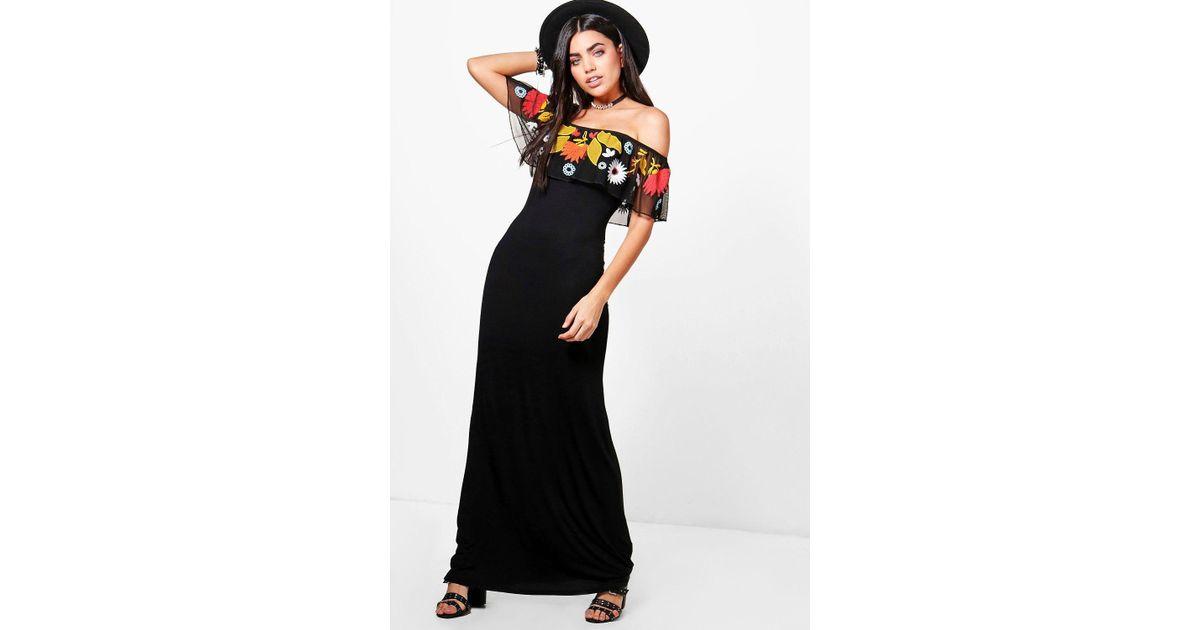 c15a739eab2d06 Lyst - Boohoo Talia Embroidered Mesh Frill Maxi Dress in Black