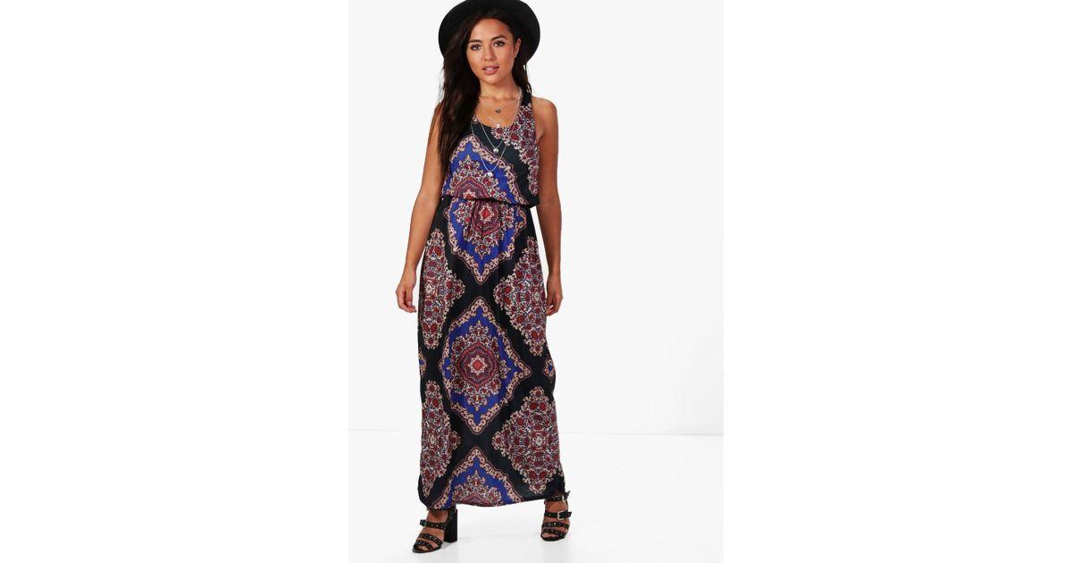 dff125b0cb21 Boohoo Petite Melissa Paisley Print Twist Back Maxi Dress in Black - Lyst