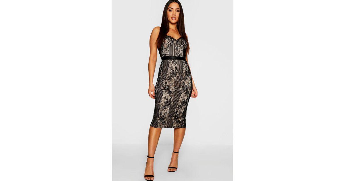 Boohoo Eyelash Lace Detail Midi Dress in Black - Lyst 93e21612d