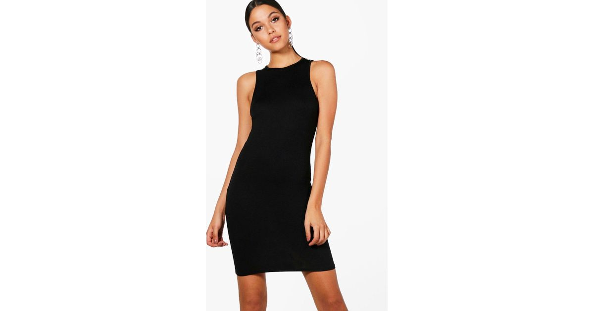 2b412c14f5e7a Boohoo Racer Front Jersey Bodycon Dress in Black - Lyst