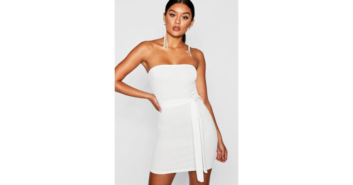 5ffb50f4a1d1 Boohoo Bandeau Tie Belt Bodycon Dress in White - Lyst