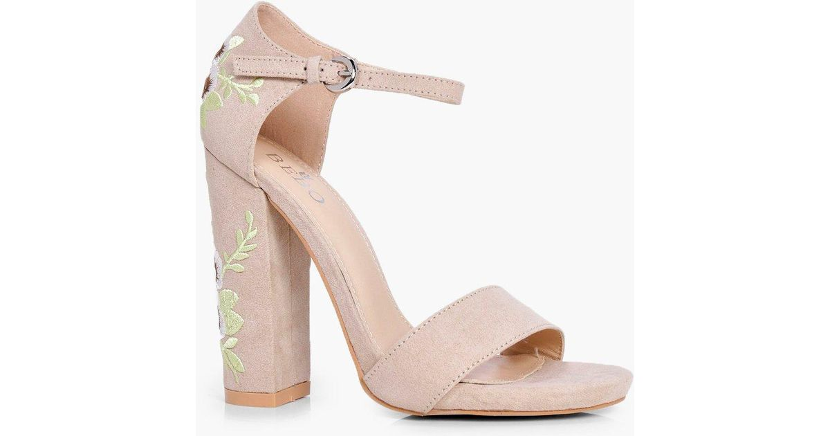 cc090c2f6332 Lyst - Boohoo Embroidered Block Heel Two Parts in Natural