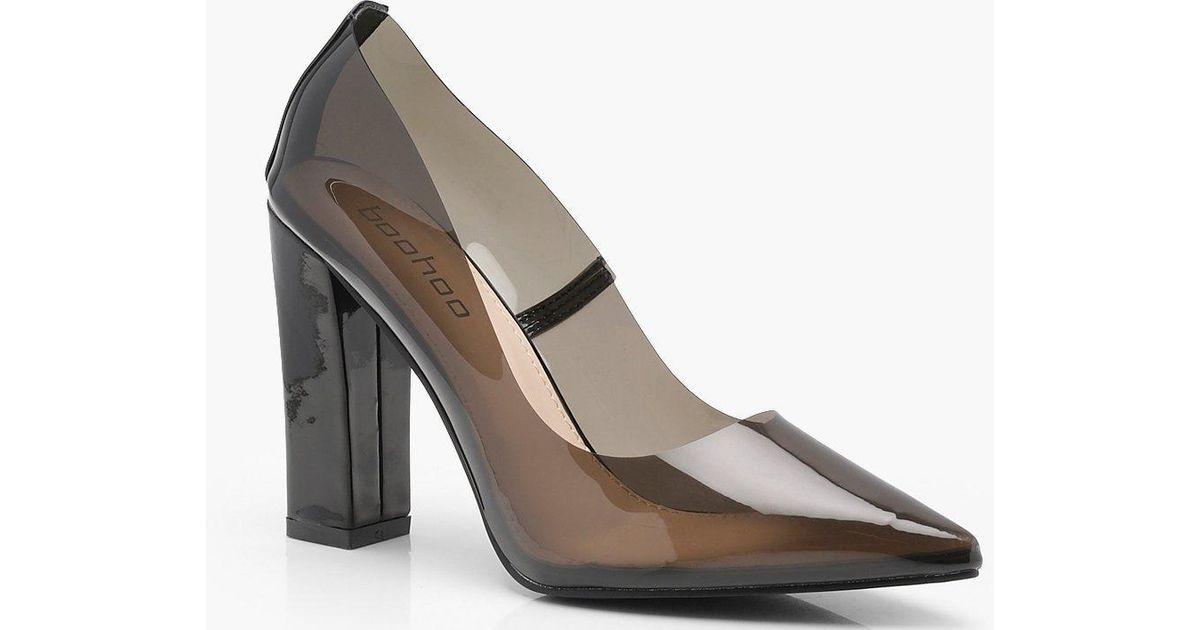 819fff26471 Boohoo Clear Block Heel Court Shoes in Black - Lyst