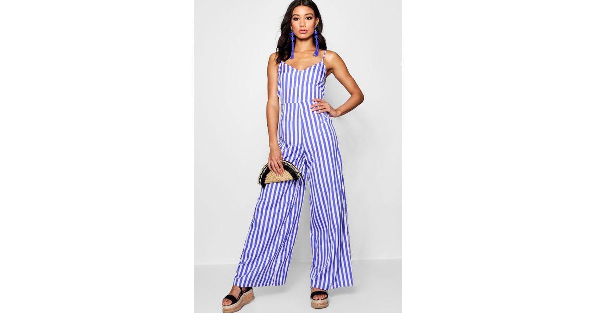 55c7ce95116 Boohoo Wide Leg Stripe Jumpsuit in Purple - Lyst