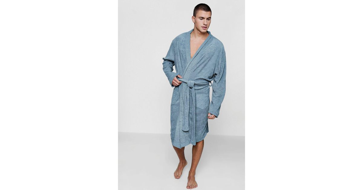 Lyst - Boohoo Grey Dressing Gown In Towelling in Gray for Men