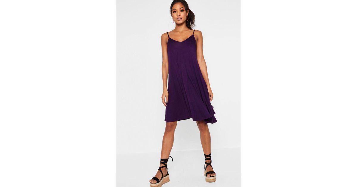189e48bd6423 Lyst - Boohoo Kelly Strappy Swing Dress in Purple