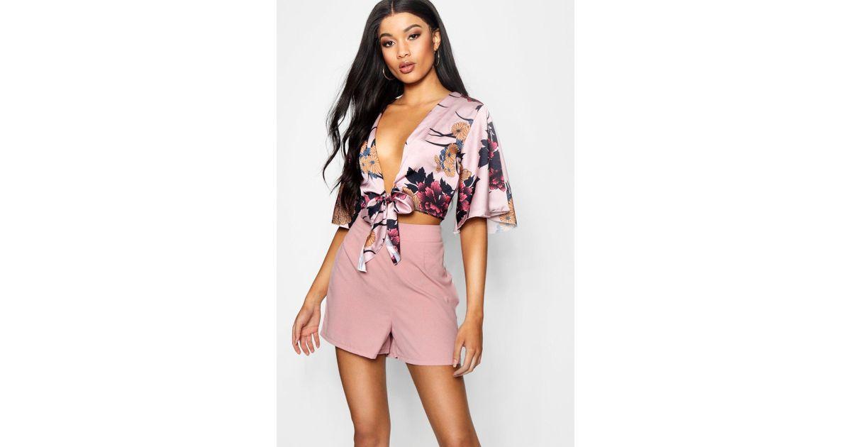 006c9c53d8505c Boohoo Angel Sleeve Satin Tie Front Crop Blouse in Pink - Lyst
