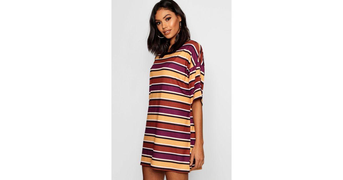 e7ae1ece86 Boohoo Autumnal Stripe Oversized T-shirt Dress - Lyst