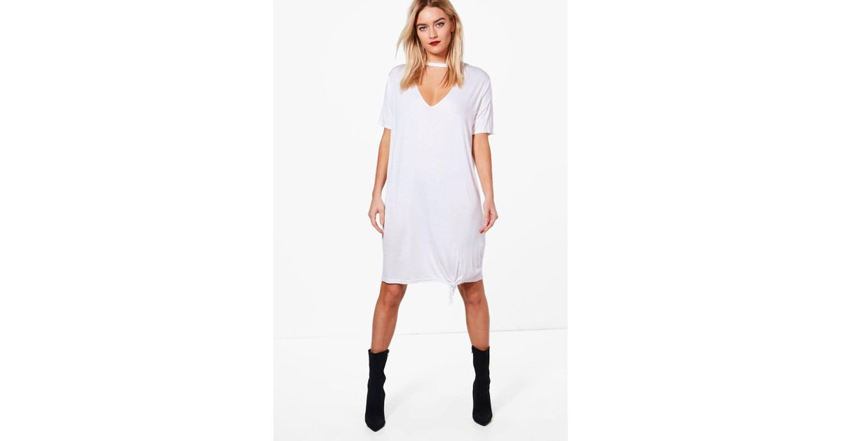 dbd43a5454 Lyst - Boohoo Katie Choker Oversized Knot Front T-shirt Dress in White