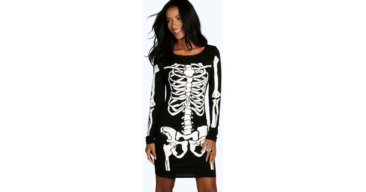 729986f9f438 Lyst - Boohoo Halloween Skeleton Bodycon Dress in Black