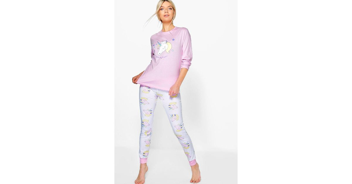 76d855a241 Lyst - Boohoo Unicorn Long Sleeve Jogger Set in Pink