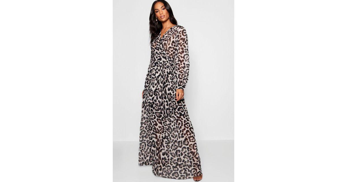c040d19defa Lyst - Boohoo Tall Sheer Leopard Print Maxi Dress in Gray