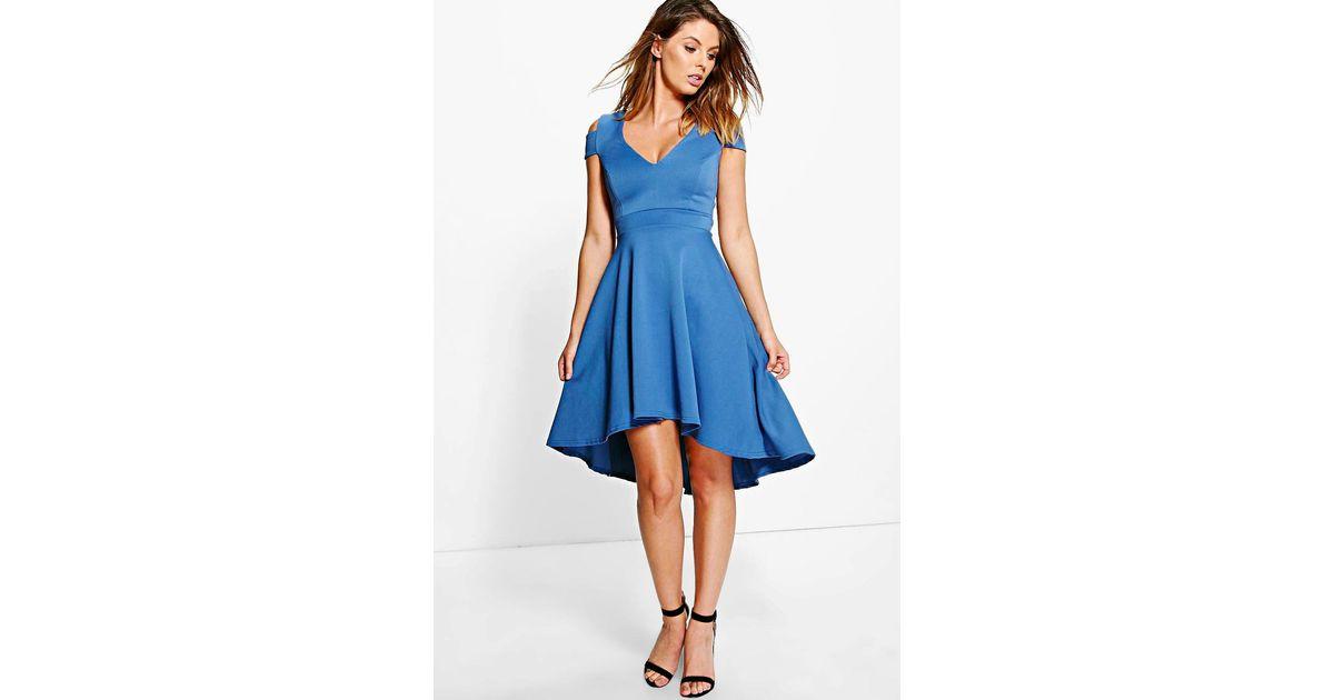 ebbdb8b8d1fb Boohoo Clea Bardot Plunge High Low Skater Dress in Blue - Lyst