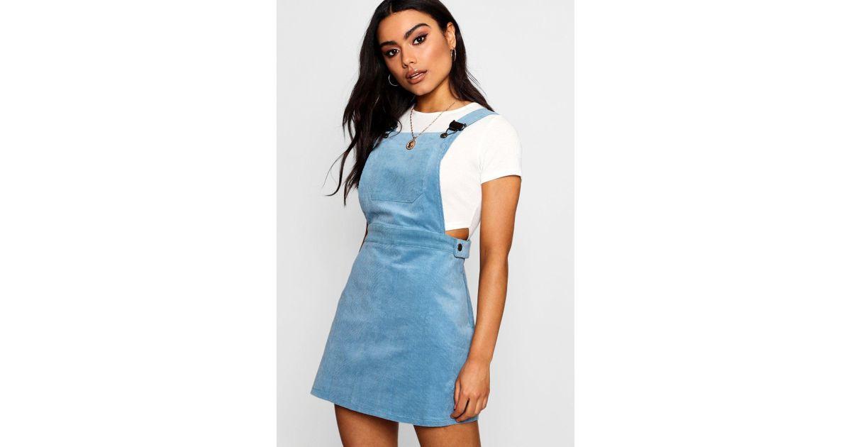 e545a55da2 Lyst - Boohoo Baby Cord Pinafore Dress in Blue
