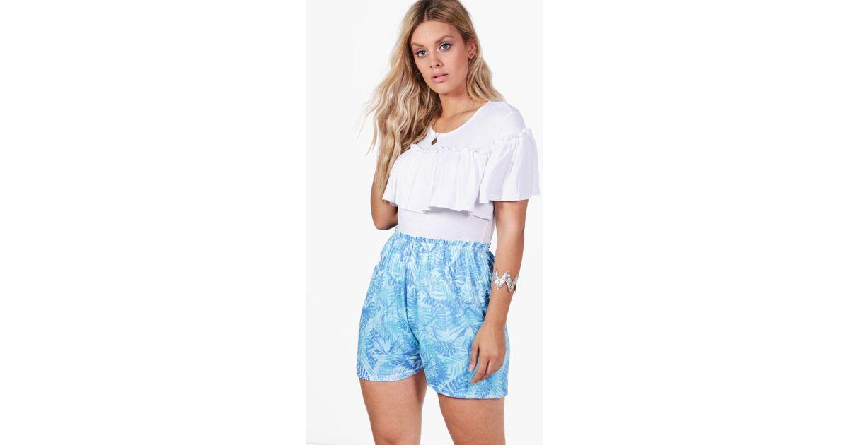 Boohoo Print Palm Plus Lyst Anna in Shorts Flippy Blue qrRqTPB