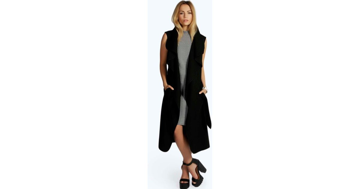 12c4df58e9cef Lyst - Boohoo Waterfall Belted Sleeveless Coat in Black